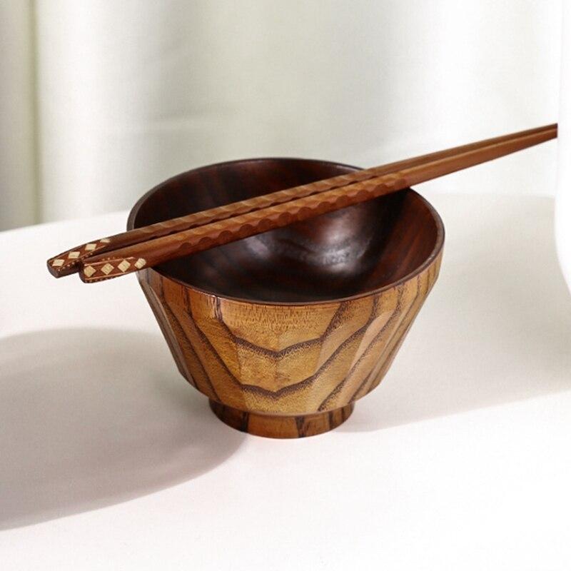 5 قطعة وعاء خشبي المنزلية العزل عناب وعاء الحساء الخشبي اليد مطروق وعاء الأرز وعاء المكملات الغذائية الطفل