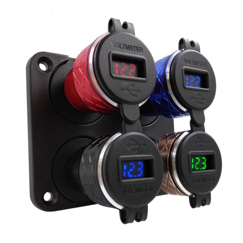 Cargador rápido de coche encendedor de cigarrillos USB Dual para BMW LED voltaje de pantalla 12-24V adaptador USB normas europeas hembra