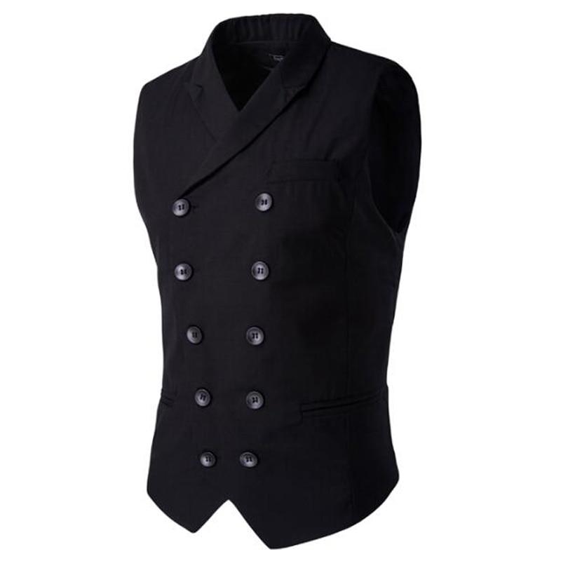 Men's Clothing British Style Slim Masculino Cotton Double Breasted Sleeveless Jacket Waistcoat Suit Collar Men Suit Vest