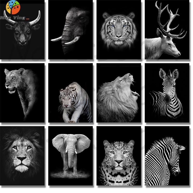 Elefante blanco negro, León, ciervo, Tigre, leopardo, rinoceronte, cebra, Diamante 5D, pintura de bordado, taladro redondo completo, decoración de mosaico Diy