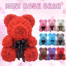 Подарок на день Святого Валентина, 25 см, красная роза, мишка тедди, мыло, пена, цветок, розовый медведь, Подарочная коробка, искусственный декор, женский подарок на день рождения