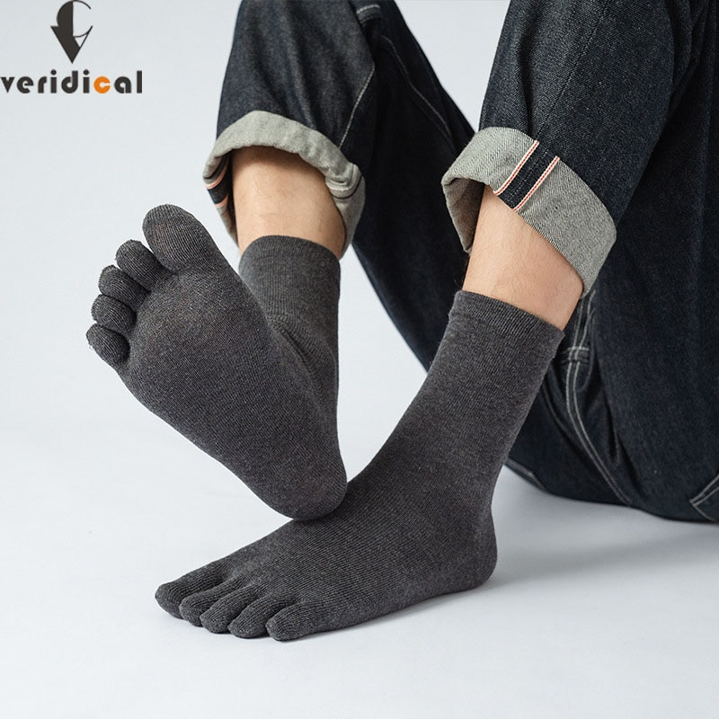 Veridical 5 Pairs/Lot Cotton Five Finger Socks For Mens Solid Breathable Brand Harajuku Socks With ToesBusiness Men Short Socks