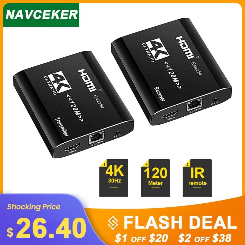 2020 Best 4K HDMI Extender Transmitter Receiver Over Cat5e/Cat6 RJ45 Ports HDMI Extender Loop 120m HDMI Extender IR For PS4 HDTV 2020 best 4k hdmi extender transmitter receiver over cat5e cat6 rj45 ports hdmi extender loop 120m hdmi extender ir for ps4 hdtv