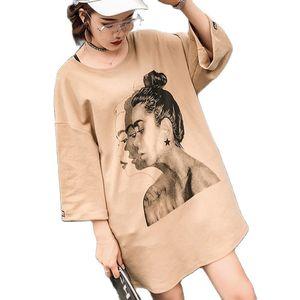 Fashion Plus Size Summer Dress Ffor Women 2021 New Short-Sleeved Long T-Shirt Dress Female  Half-Sleeved Bottoming Shirt