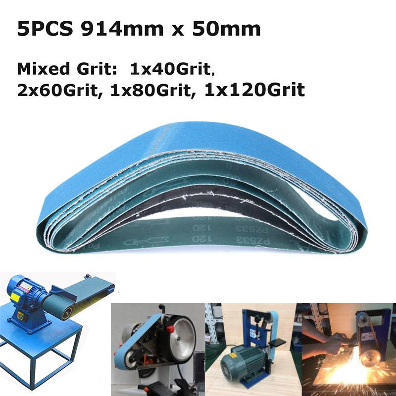 5pcs 914x50/100mm Mixed Grit Linishing Sanding Belts Zirconia Abrasive Belts 40/60/80/120 Grit Sanding Polishing Abrasive Belt