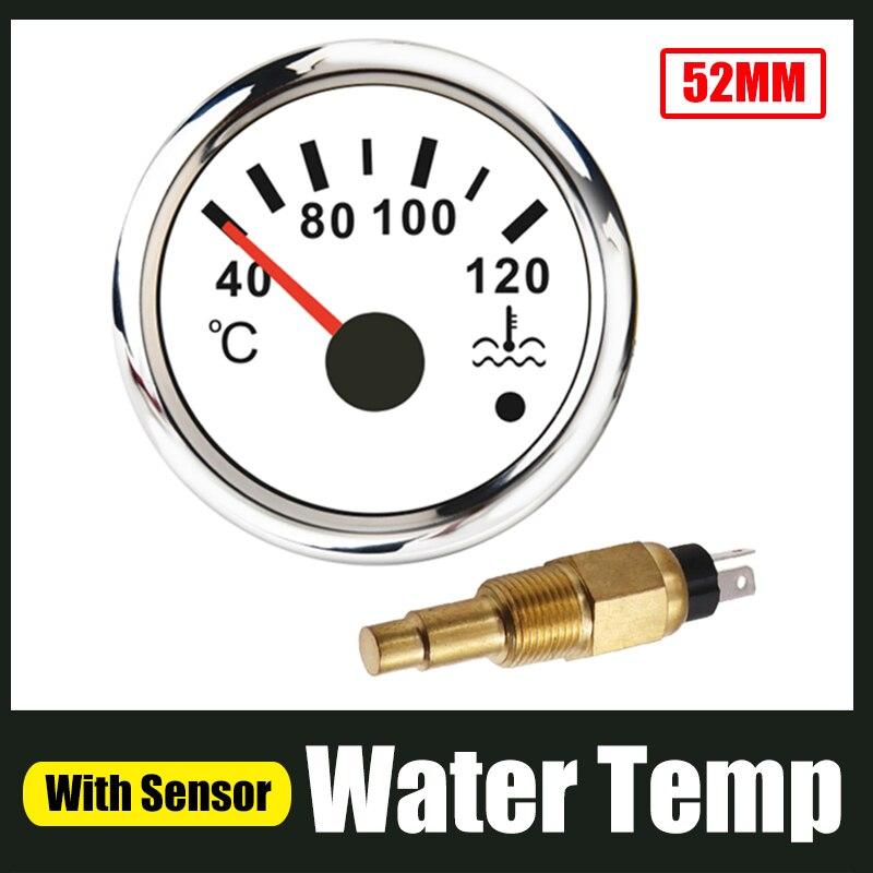 """52mm miernik temperatury wody 40-120 ℃ z czujnik temperatury wody 3/8 """"-18 gwint NPT dla samochodów łódź motocykle Alarm Temp 96 ℃ 12-24V"""