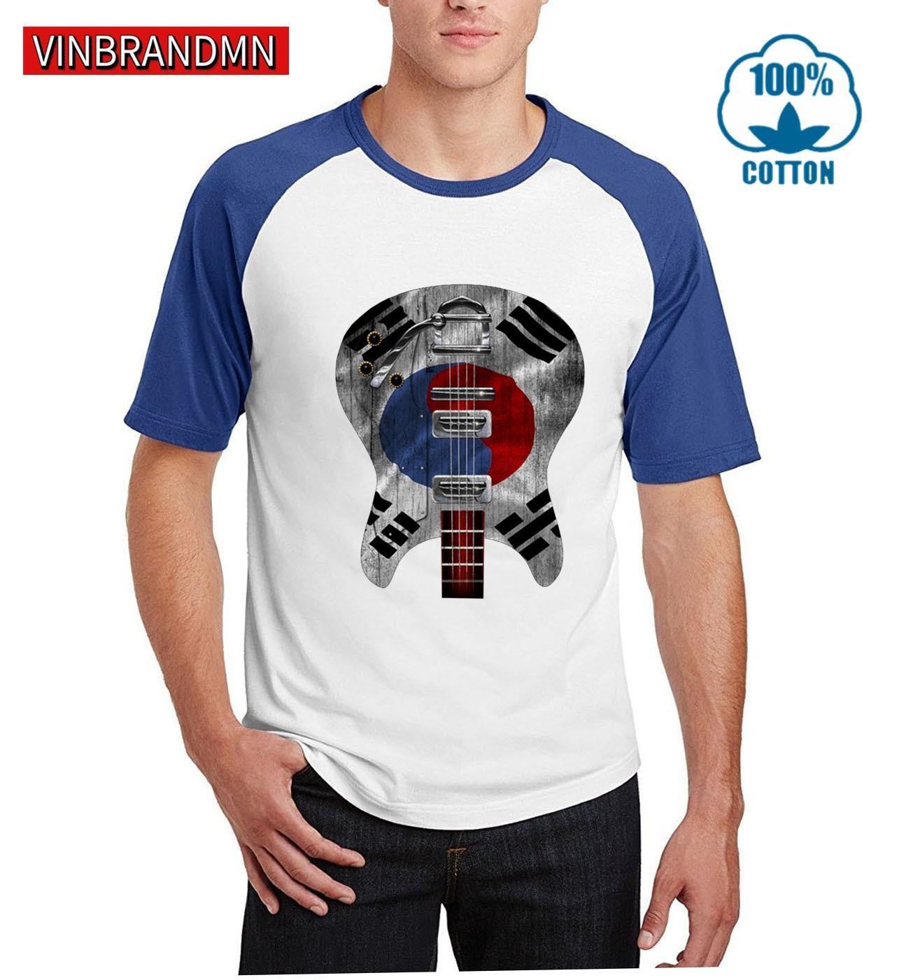Camiseta de guitarra con bandera coreana para hombre, camisetas de moda de hip hop, camisetas de equipo nacional, camisetas de guitarra 100%, tops de algodón para reuniones, camisetas hipster 3D para fans