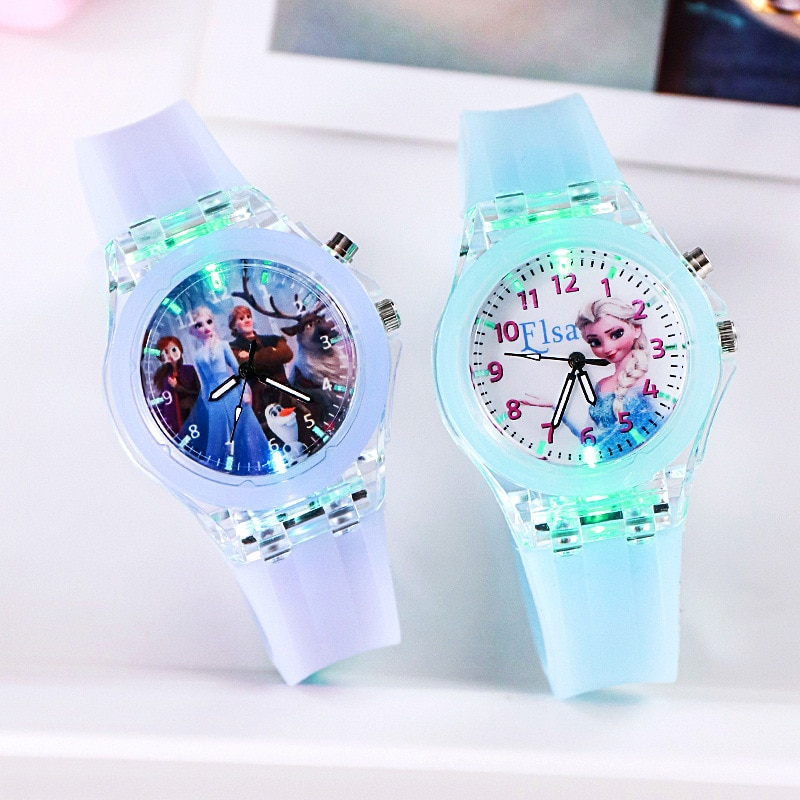 New Disney Frozen Princess Pattern Children Watch Toys Fashion Crystal Cartoon Leather Quartz Wristwatch for Girls Kids Toy Gift
