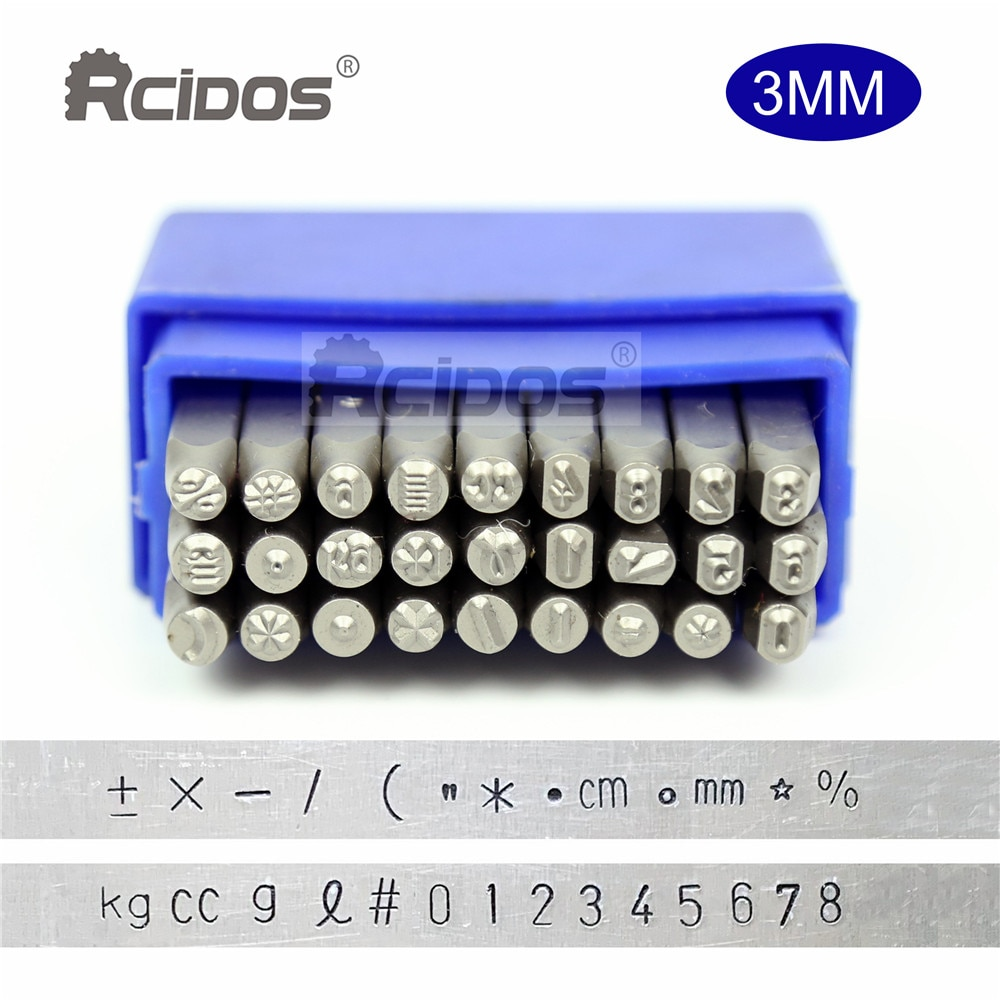 Estilo do tipo de Carimbo de Metal Punção de Aço Símbolos Sinal Alemanha Letra Números Carta Conjunto Jóias Letras Kit27 Pçs – Set 3mm