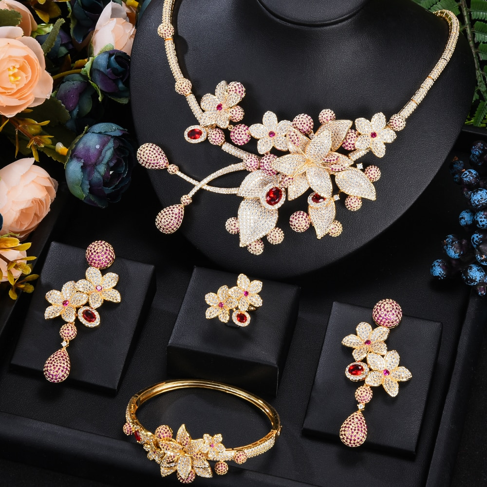 Kellyبولا جوهرة 2021 الحصري عالية الجودة رائع كبير باقة من الزهور الزركون طقم مجوهرات الزفاف مجوهرات الزفاف 4 قطعة