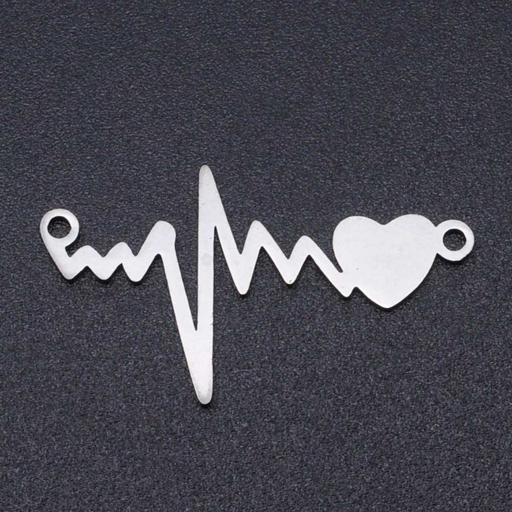 5 unids/lote 100% de acero inoxidable corazón conector encantos al por mayor DIY Fabricación de collares y pulseras encantos nunca empañar