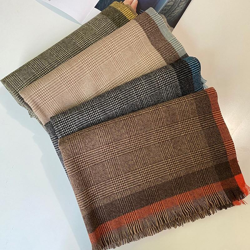 2021 Korean thousand bird lattice women's scarf imitation cashmere short whisker lattice scarf thickened for warmth and shawl