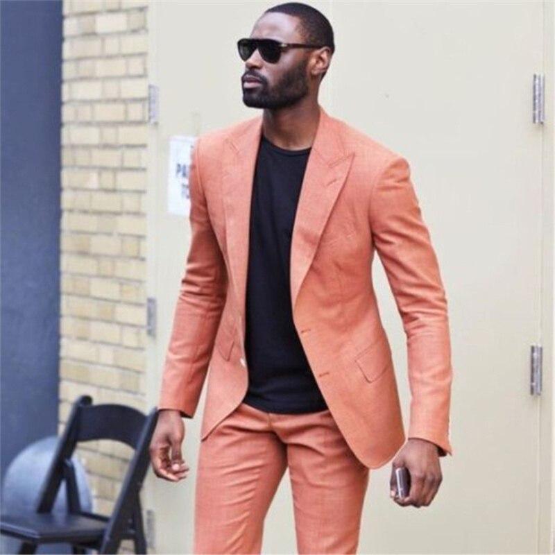 Handsome Two Buttons Groomsmen Peak Lapel Groom Tuxedos  Men Suits Wedding/Prom/Dinner Best Blazer(Jacket+Pants+Tie) 119
