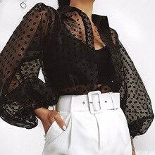 Women Polka Dot Mesh See Through Sheer Top Long Puff Sleeve White/Black Summer Blouse Shirts Korean Fashion Tunic Ladies Blouses