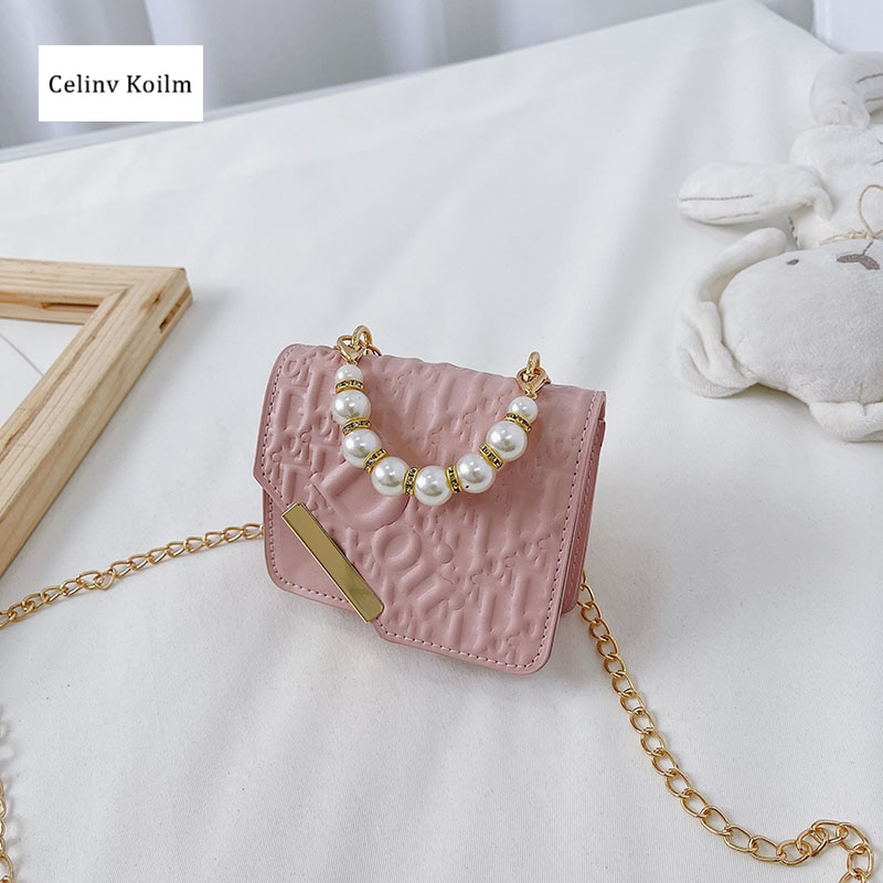 Celinv Koilm Cute Small Square Bag Children's New Trendy Chain Messenger Bag Western Style All-Match Handbags Accessories