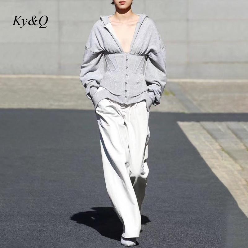 Runway 2019 Winter Brand Designer Sports Wind Belt Hooded Women Long-sleeved Fashion High Street Sweatshirt Outwear New