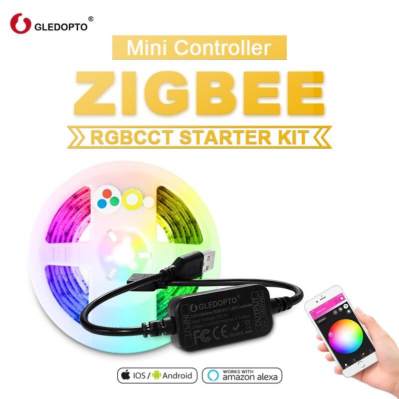 Juego de tiras de luz LED para ordenador de 5V RGB + CCT TV con control remoto inteligente para casa de 2M con Amazon ECHO Plus