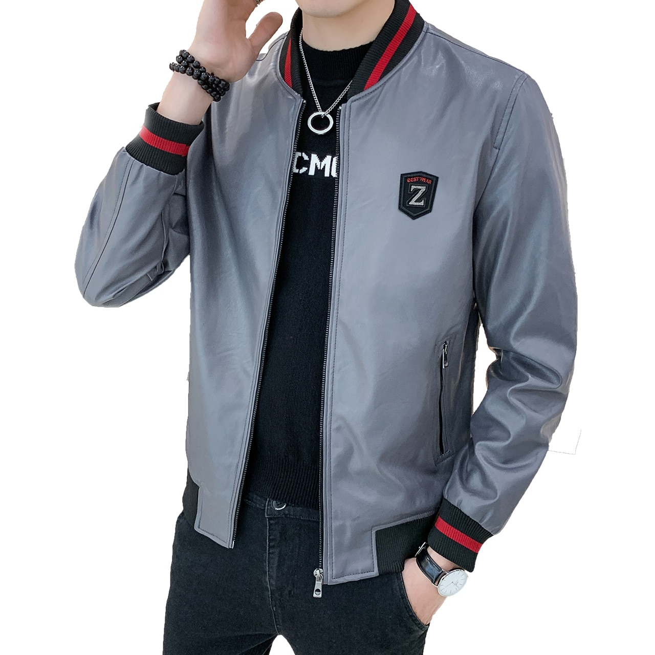 Chaqueta de cuero para hombre, chaqueta de invierno ajustada para hombre, chaqueta de cuero para hombre A521-8362