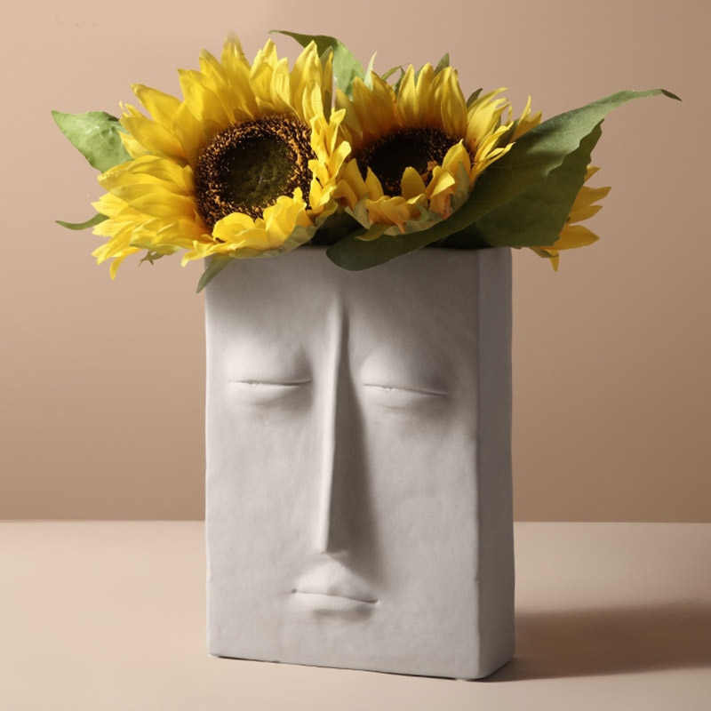 Vaso de artesanato moderno vaso de flor branca sala estar artista máscara facial vaso de cerâmica decoração para casa vasos de flores decoração de mesa prop
