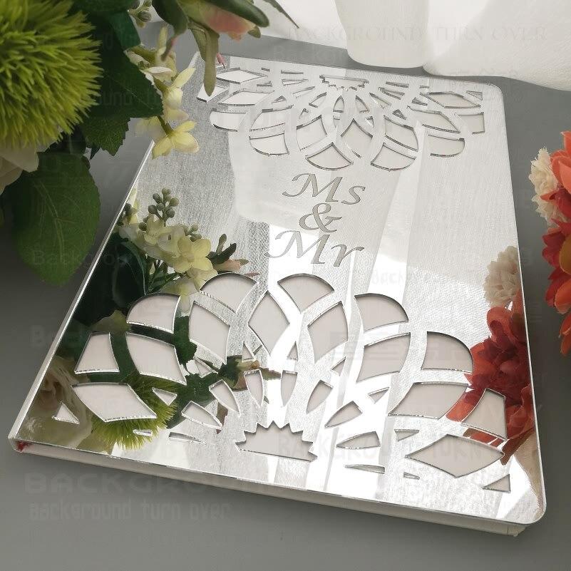Livro de Hóspedes Data em Branco Casamento Guestbook Assinatura Decoração Espelho Personalizado Gravar Carve Festa Nomes Brancos Favor G007