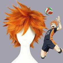 ¡Haikyuu! Hinata Syouyou-Peluca de pelo sintético resistente al calor para Cosplay, pelo corto y esponjoso en capas, color naranja, Anime, con gorro