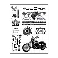 motorcycle trip clear stamps silicone seal for diy scrapbooking card rubber stamps making photo album handemade crafts decor