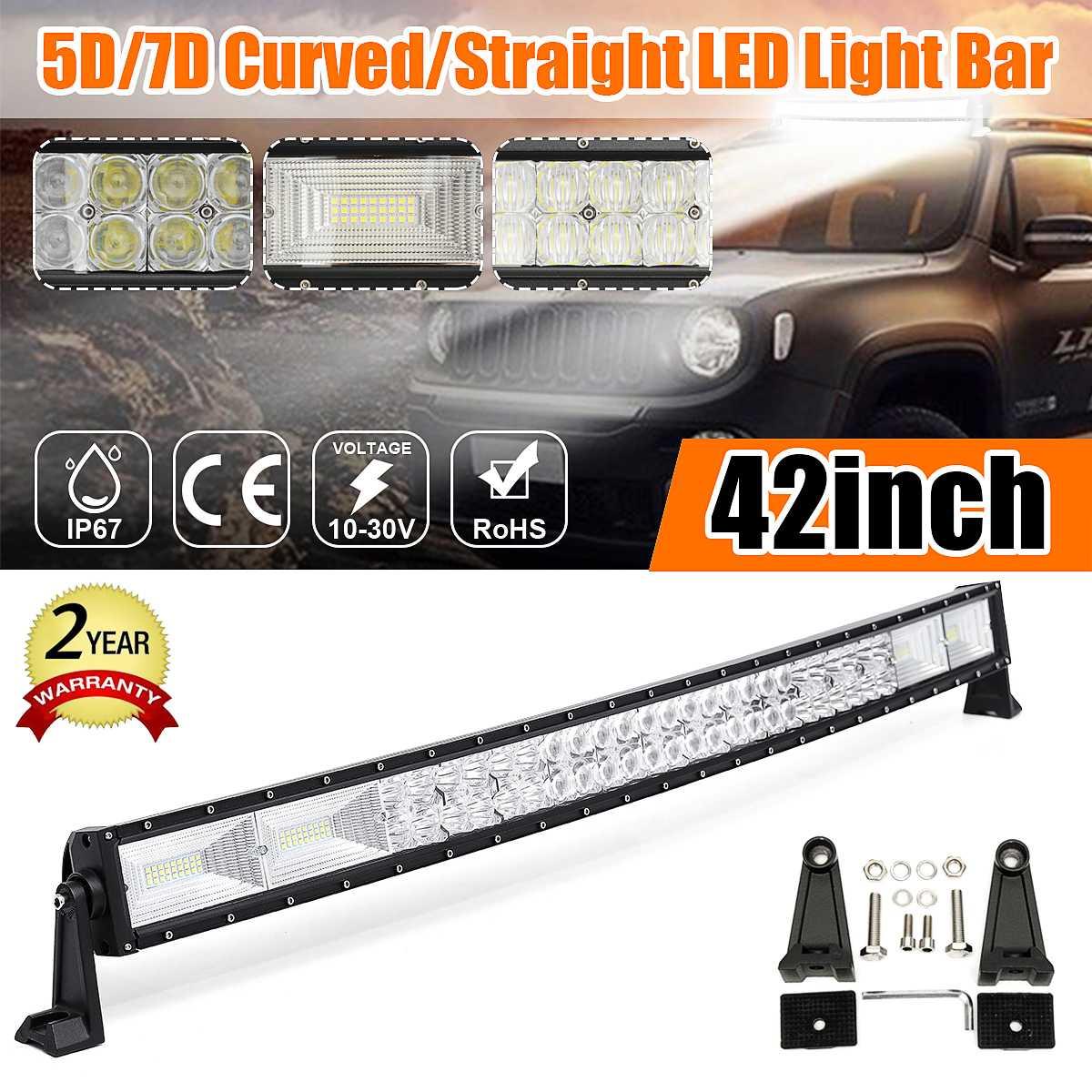 Barra de luz LED de obra curvada de 42 pulgadas 1400W 5D Combo de lámpara de conducción todoterreno 6000K Barra de luz LED impermeable para SUV ATV coche camión