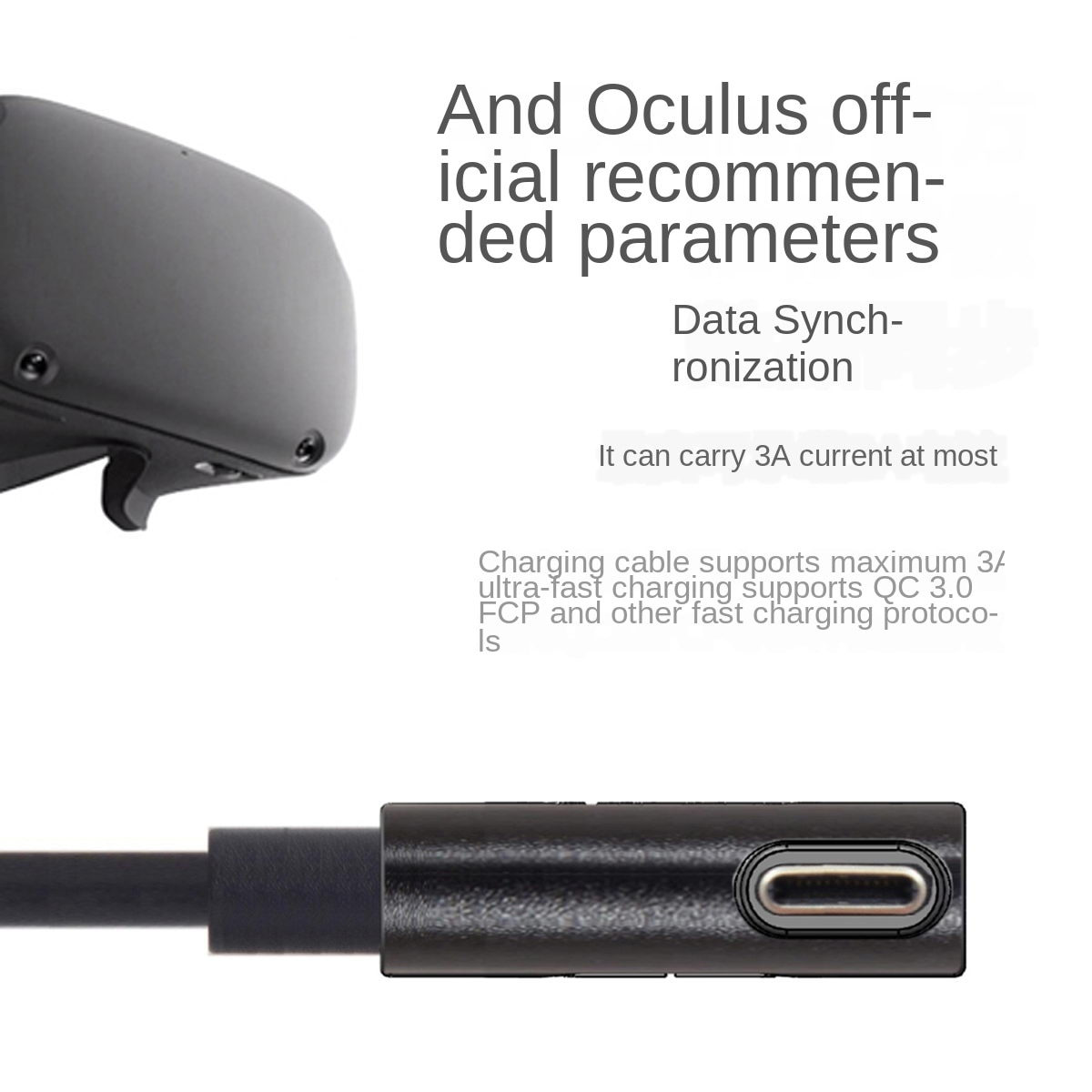 For Oculus Quest/2 Link USB- C Steam VR  Type- C 3.1 Data Cable, Selectable 3m5m
