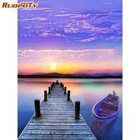 ruopoty full square diamond painting round 5d sunset seaside diamond embroidery landscape handcraft home decoration gift