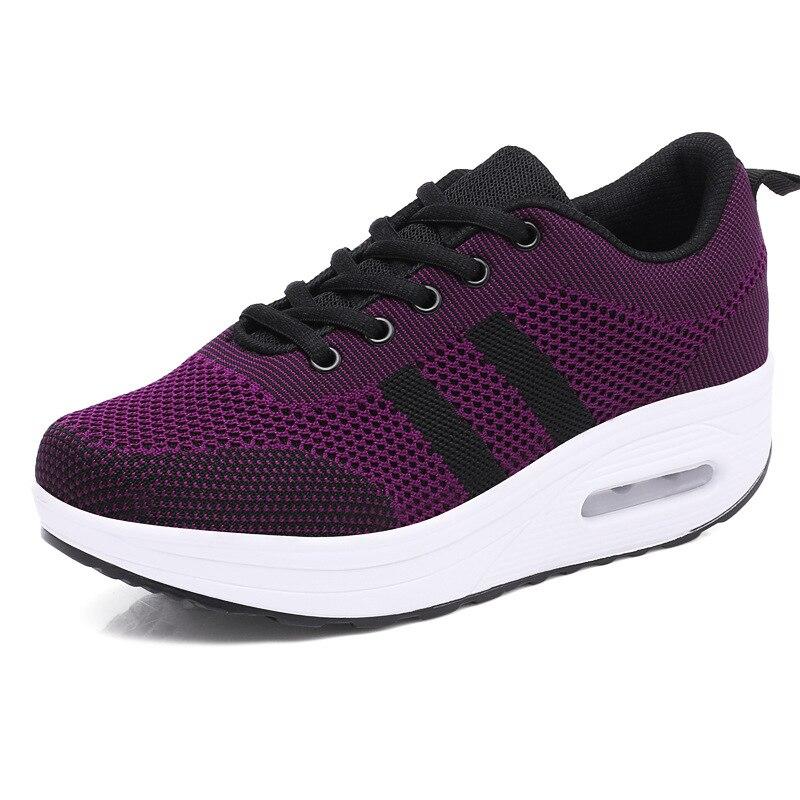 Женские сетчатые кроссовки BLWBYL, дышащая Уличная обувь на толстой подошве со шнуровкой, повседневная женская обувь на платформе