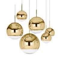 Modern Mirror Ball pendant light restaurant lamp creative art bar cafe Bedroom lamp gold round glass pendant lights lustre Glass