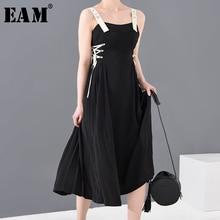 [EAM] Women Black Bandage Pleated Long Spaghetti Strap Dress New  Sleeveless Loose Fit Fashion Tide Spring Summer 2020 1S61201S