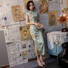 SHENG COCO jolie robe chinoise Qipao moderne chinois robe de soirée femmes longue soie Cheongsam robe de soirée Vestidos Guzheng 4XL