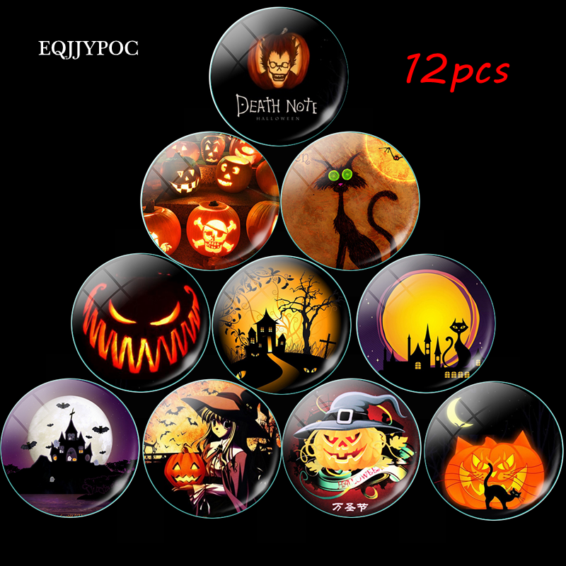 12pcs Halloween Kühlschrank Magneten Horror Cartoon Kürbis Laterne Katze Glas 25MM 30MM Magnetischen Kühlschrank Aufkleber Home Decor