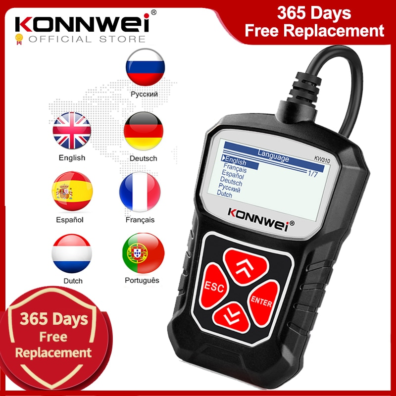 KONNWEI KW310 OBD2 Scanner for Auto OBD 2 Car Scanner Diagnostic Tool Automotive Scanner Car Tools Russian Language PK Elm327