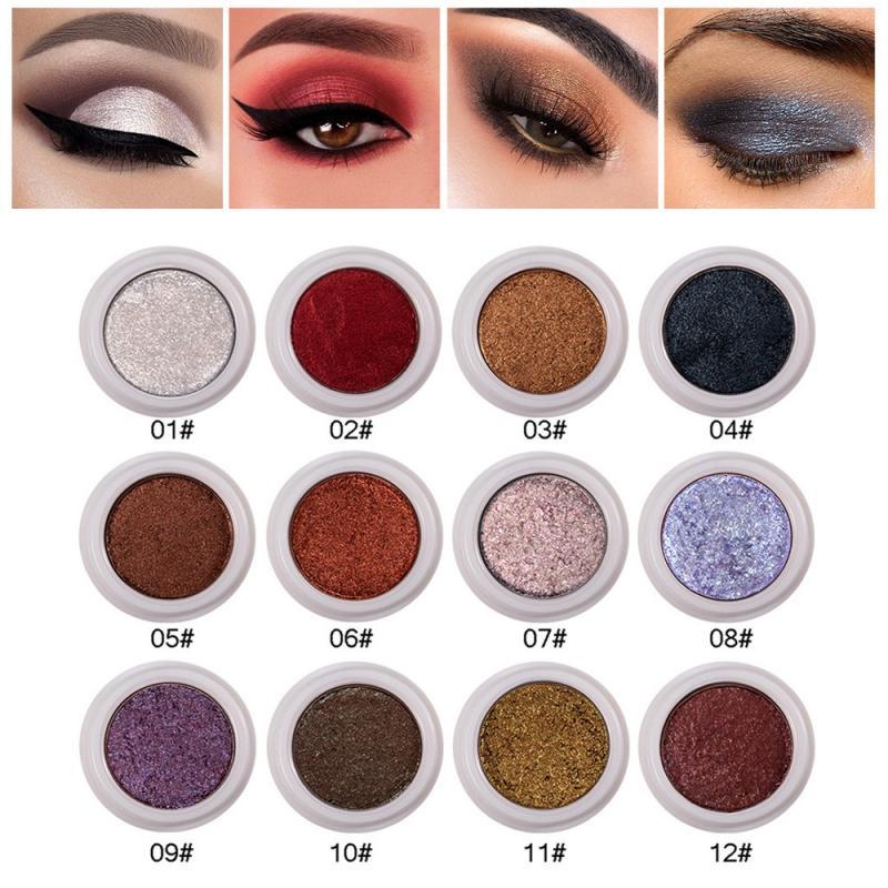 Handaiyan moda maquiagem sombra de olho macio brilho de longa duração à prova dshimágua cintilante cores sombra de olho metálico cosméticos tslm1