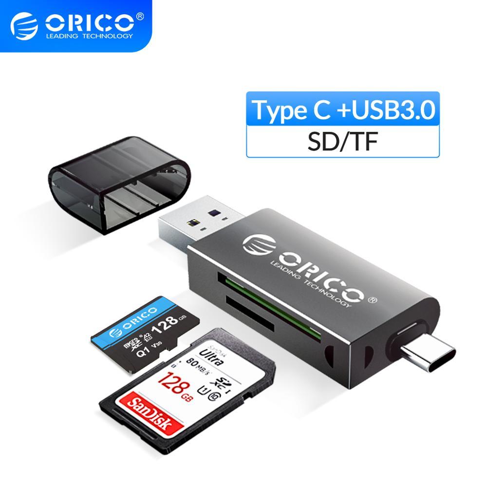 Картридер ORICO USB 3,0 2 в 1, SD/Micro SD TF OTG, устройство для чтения смарт-карт с type-C, высокоскоростной адаптер для ПК, компьютера, ноутбука
