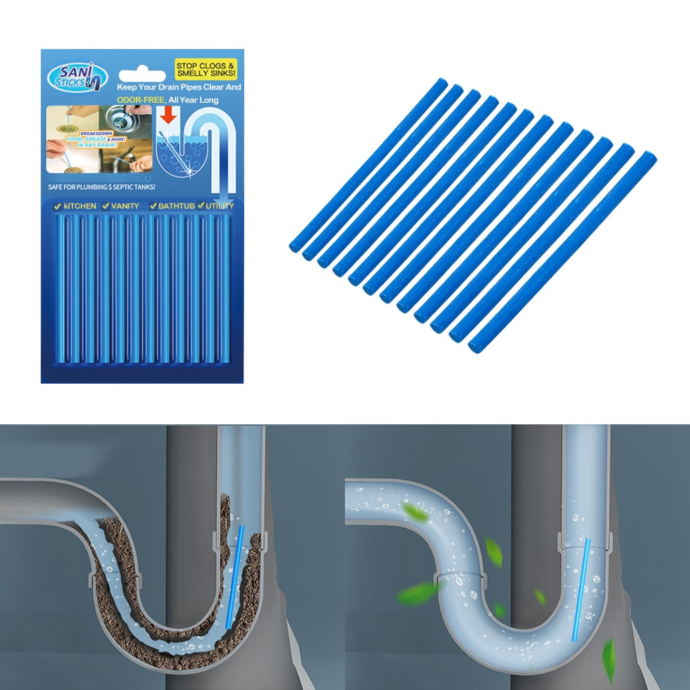 Sink Clogging Remover Tools Home Cleaning 12Pcs/set Air Cleaner Household Merchandises Drain Toilet Pipe Cleaner