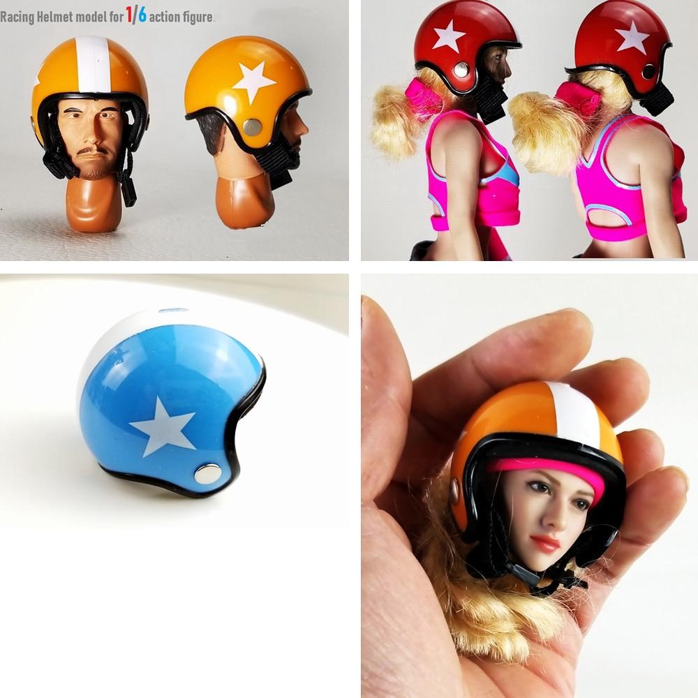 "1/6 Scale Figure Accessory Simulation Plastic Racing Helmet Scene Props Model for 12"" Action Figure Scene Accessories"