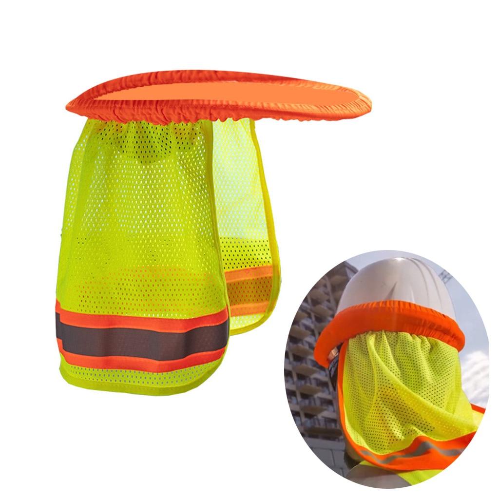 Sombrero duro de seguridad, casco protector de cuello amarillo, parasol reflectante a rayas, sombrero duro transpirable, sombrero parasol elástico Z725
