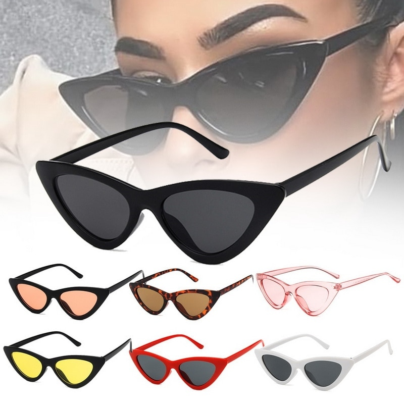 Fashion Cute  Ladies Cat Eye Sunglasses Women Vintage Retro Small Triangular Cateye Glasses Female Oculos De Sol UV400