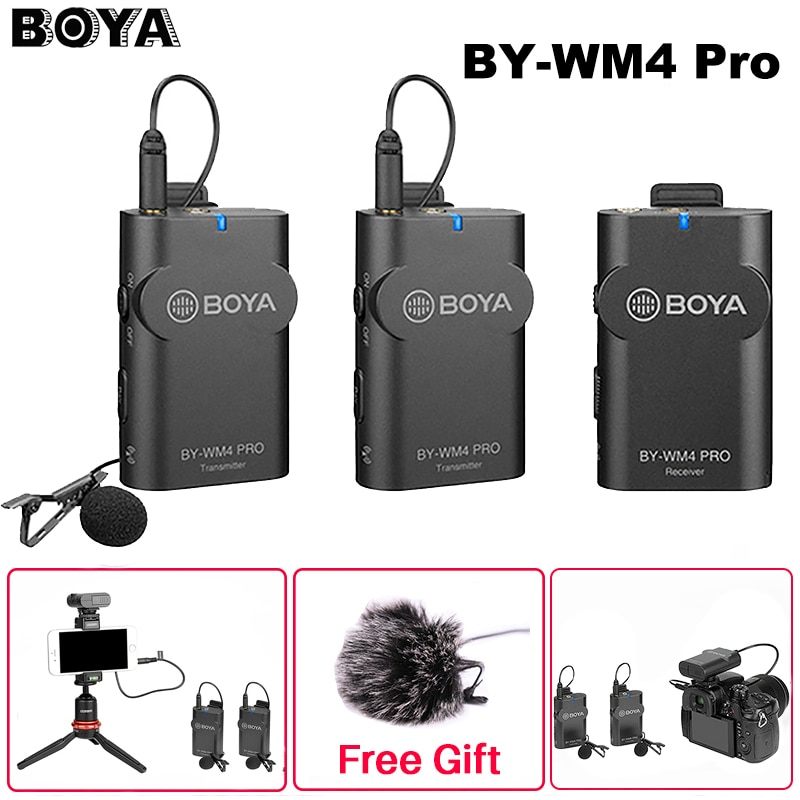Review Boya BY-WM4 Pro K1/K2 Dual Channel 2.4G Wireless MIC Studio Condenser Microphone Lavalier Interview Mic for iPhone DRLR Camera