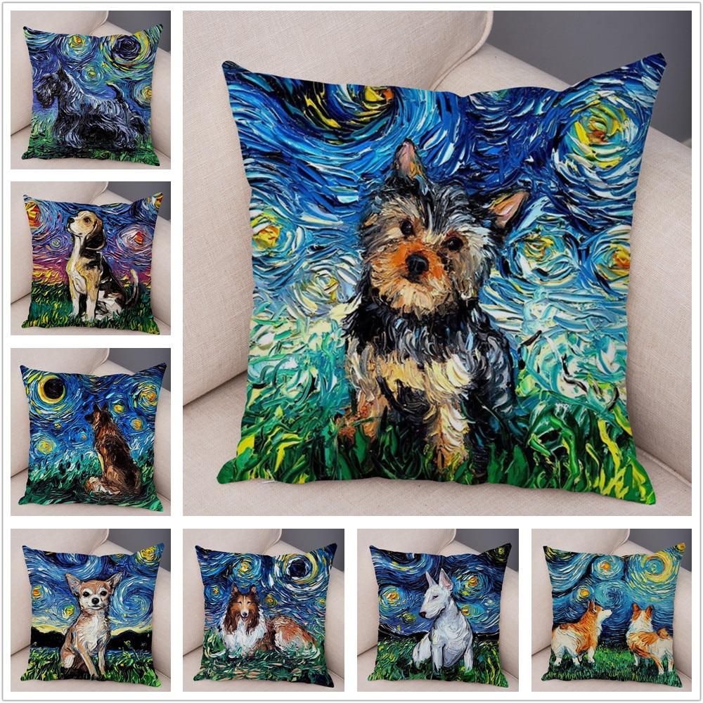 Colorido animal de estimação pastor cão capa de almofada fronha travesseiro capas decoração pintura a óleo dos desenhos animados animal curto pelúcia fronha 45x45