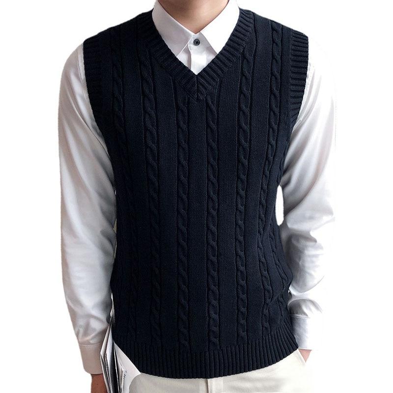 Mens Sweater Vest Men Gilet Homme Vintage Korean Vest Knit Vest Mens Vest Chandail Homme Pull Sans Manche Homme Comfort Casual