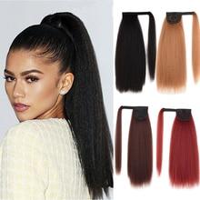 Wecolin extensão de cabelo, extensão de cabelo sintético em clipe longo, resistente ao calor, em torno dos presentes de natal, preto, marrom escuro