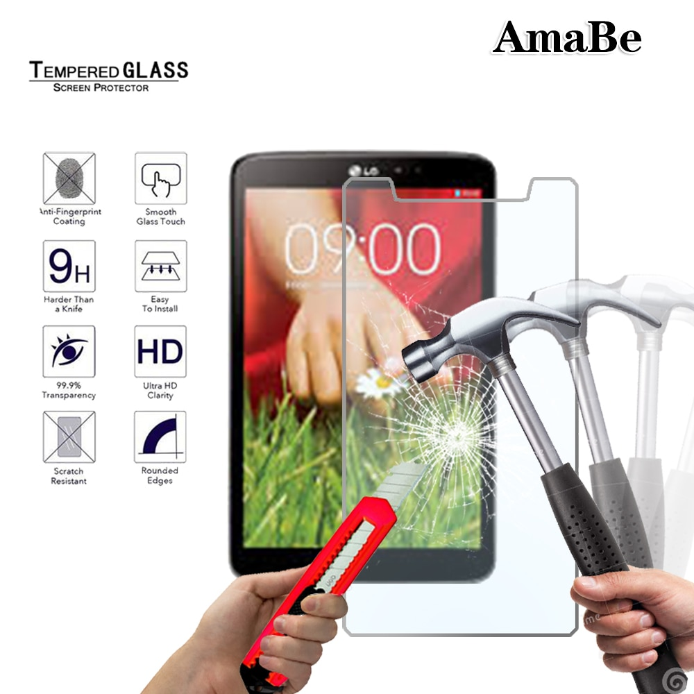 Anti Tablet con huella dactilar de templado de vidrio de película para LG G Pad 8,3 V500/G Pad IV 8,0/G Pad F2 8,0 de pantalla transparente de cristal Protector