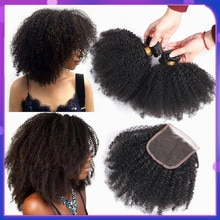 Bling włosów brazylijski włosy Afro perwersyjne kręcone zestawy z zamknięciem 100% Remy wiązki ludzkich włosów z 4*4 zamknięcie koronki Natural Color