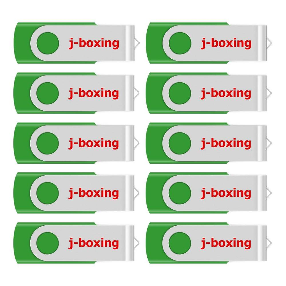 J-boxing USB Storage Flash Drives 64MB 128MB Small Capacity Pendrive 256MB 512MB Metal Thumb Drives USB 2.0 Memory Green 10PCS