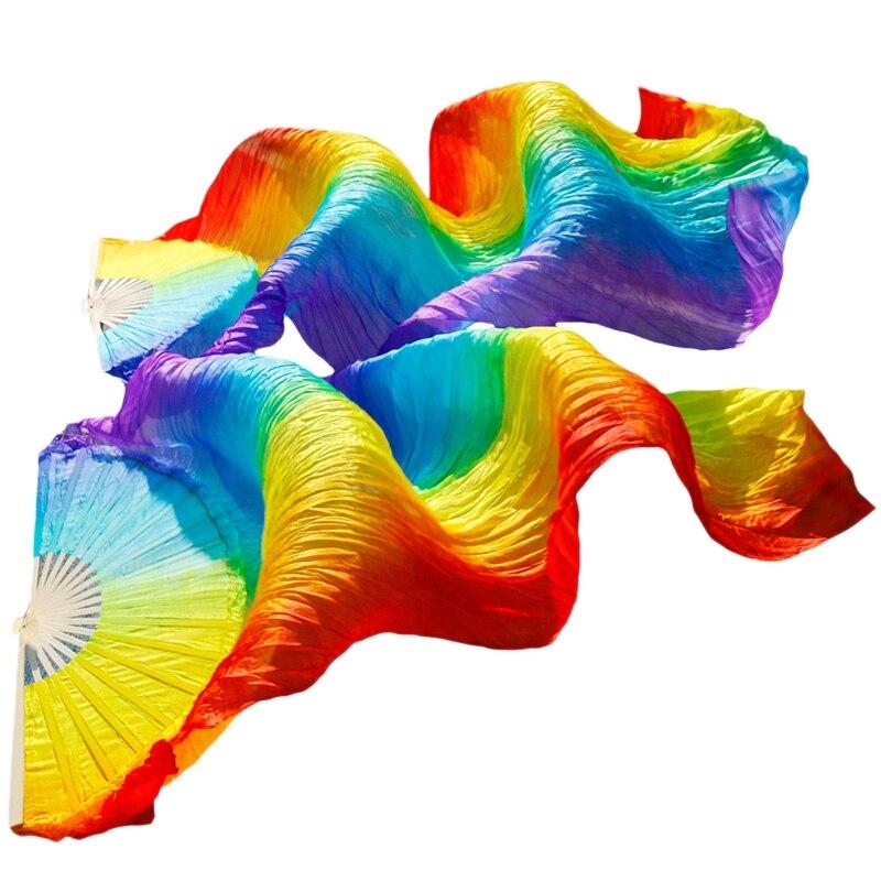 Abanico para danza del vientre hecho a mano de calidad para mujeres velo de seda 100% Real colores del arco iris 180x70Cm