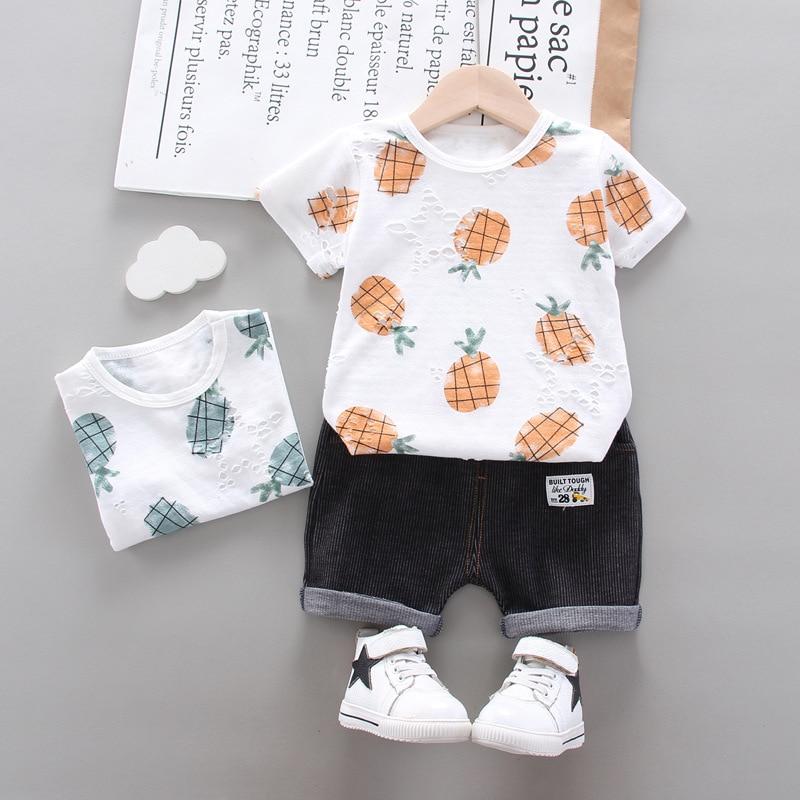 Conjunto de roupas do bebê do menino roupas de verão da criança infantil do bebê menino conjuntos de roupas casuais imprimir t shirt shorts 2 pcs crianças terno roupa